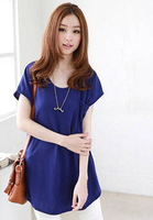 2014 spring women's loose plus size small pocket batwing sleeve T-shirt short-sleeve shirt top