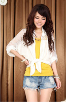 2014 spring women's loose plus size lace patchwork batwing sleeve chiffon short-sleeve shirt
