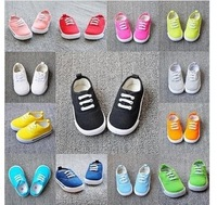 free ship fashion canvas 14 color lace kids baby boys girls children shoes fits 1-4 years first walkers