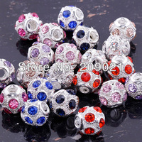80X Pretty Large Mix Color Crystal Round Big Hole Charm Beads Fit Bracelet