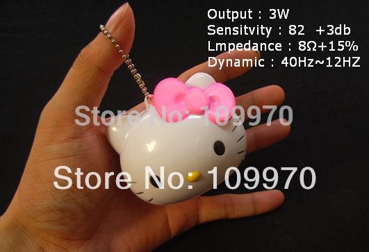 2015 New Cartoon Hello Kitty mini speaker kid girl Portable mini MP3 MP4speakers keychain free shippment(China (Mainland))