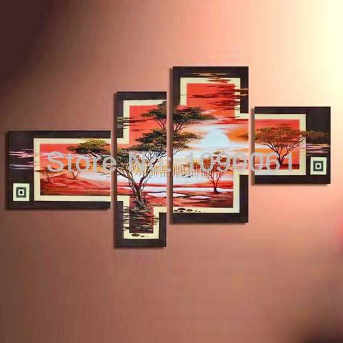 Pintados à mão abstrata moderna pastagem do por do sol 4 pc pinturas africanas na lona Set parede decorativa imagem arte sem moldura(China (Mainland))