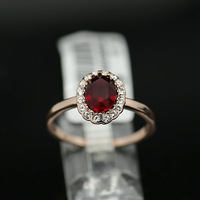 New Arrival 18K Rose  Gold Plated Shining Imitation Ruby Flower Princess Engagemnt Ring Free Shipping RG031