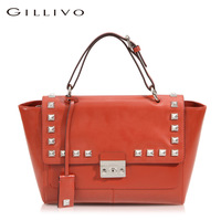 Gillivo fashion rivet amber gloss women's cowhide shoulder bag handbag shaping brief