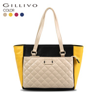 Gillivo color block plaid women's shoulder bag genuine leather bag
