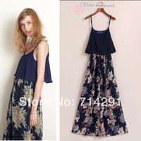 Hot saleNew Fashion High quality clothes Woment  printed chiffon Jumpsuits free shipping