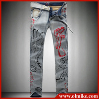 2014 The new printed Men's Jeans seasons with dragon printing Jeans men's trousers are in the day free shipping D166