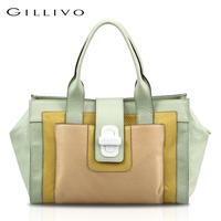 Gillivo color block serpentine pattern carved women's sheepskin handbag