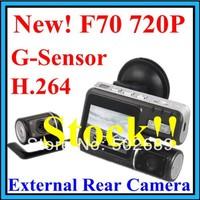 Car DVR dual lens vehicle Camera Recorder HD 1280*720P G-Sensor with H.264 Extra AV-in Camera 4-LED F70 SwedenPOST free shipping