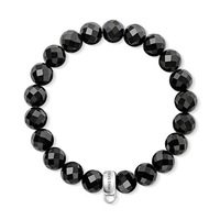 European Style Fashion Bracelet 925 Silver Black Circular Cut Crystal Beads Elastic Bracelet Free Shipping TMS-MBR045