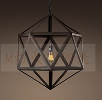 Fashion Art iron restaurant lamp dining room fashion pendant light wrought iron painted cage pendant lamp