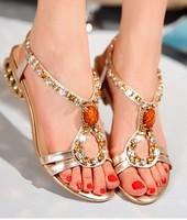 bohemia open toe sandals genuine leather rhinestone with female sandals sheepskin slippers women's shoes