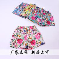 2014 summer elastic cotton prints girl denim shorts pants flower jeans shorts