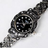 High Quality Antique Black Titanium Silver with Crystal Rhinestone Women Girls Alloy Quartz Adjustable wristwatches Bracelet