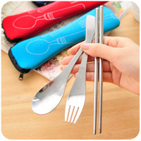 Free Shipping Wholesale 10sets/lot Portable Stainless Steel Chopsticks Spoon Fork Kit Tableware Set Travell&outdoor supplies