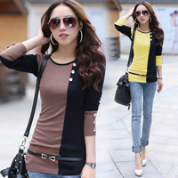 2014 European Grand Prix latest spring tide Slim and long sections women's long sleeve T-shirt shirt bottoming shirt package hip