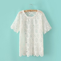 2014 new Lady  Fashion Short Sleeve O-Neck Blouse Hollow Out  Shirt    K16