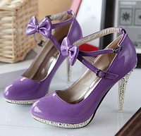 New arrival 2014 sweet magazine bow stiletto platform single shoes 61163 purple
