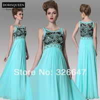 ems free shipping &DORISQUEEN free shipping a line floor length light blue prom dresses for wowen
