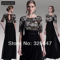 ems free shipping &DORISQUEEN free shipping 2014 latest elegant sheath formal party black slit style evening dress