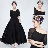 2014 summer fashion ruffles chiffon one-piece dress,plus size half sleeve Dew shoulder sexy dress,Bohemian long dress