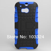 2014 New Arrival 200pcs/Lot For HTC One 2 M8 Case Armor Hybrid Hard Case Cover Kickstand Cover For HTC ONE 2 M8