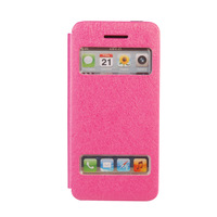 Fashion Silk Dual Window Luxury Mobile Phone Flip Leather Case Cover For iPhone 5 5S Free shipping 6COLORS