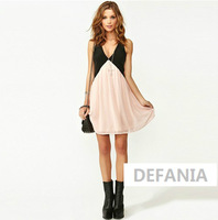 2014 spring dress ,summer and autumn women dress Sexy Deep V-neck Stitching Back Hollow Chiffon Vest Dress Sleeveless