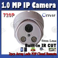 720P ip camera Indoor Dome onvif 6mm lens up to 50m night vision cctv digital camera hd retail box