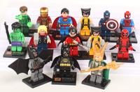 Super Hero Figures Toys 14pcs/lot The Avengers Classic Toys Action Figures Thor Spiderman Loki Batman Deadpool X-man Robbin