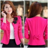 Fall 6829 new Korean OL temperament Slim short small suit large size women's small blazers,Plus sizes,flower details