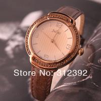 Julius Women's Fashion Watch OL Lady Crystal Round Stainless Steel Case Genuine Leather Strap Vintage Original box JA-690