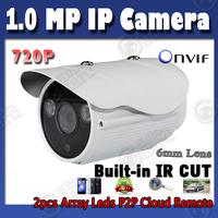 720P ip camera outdoor onvif 6mm lens up to 50m night vision bullet metal shell ip camera hd retail box