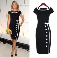 Fashion elegant vintage 2014 patchwork color block one-piece dress single breasted short skirt pencil skirt