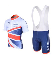 2014 SKY Cycling Short sleeve Wear Cycling Clothing Jersey + Shorts bib Suit Free Shipping S-5XL blue and white