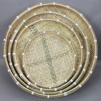 Handmade bamboo boulimia eco-friendly natural bamboo tea rice  tablet shovel round bamboo basket bamboo basket