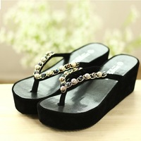 2014 NEW summer European Style women sandals coloured Rhinestone high wedge flip flops women pumps size 35-39 PP020