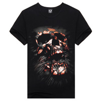 Metal personality male short-sleeve 100% sports cotton short-sleeve T-shirt men's clothing 3dt demon skull VDT040