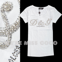 2014 summer fashion rhinestone o-neck short-sleeve brief cotton t shirt women 2colors M,L,XL Free shipping