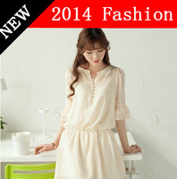2014 spring summer clothing chiffon three quarter petal sleeve Bohemian dress patchwork with bead dresses for womens 0309z