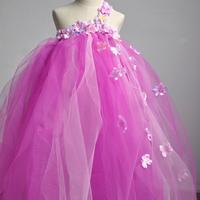 Ellies bridal female child pink tulle dress flower girl skirt performance wear child princess dress child dress female