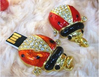 U disk with drill Genuine Capacity USB Flash Drive, Color Beetle Pen Driver, Gift USB Flash Disk, Jewelry USB flash drive