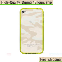 High Quality Camouflage Style PC Cover TPU Frame Case For iPhone 4 4G 4S Free Shipping DHL EMS HKPAM CPAM