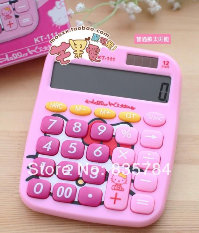 Hello kitty Calculator Mini Solar power 12 digit calculator hello kitty electronics Kawaii Stationery School supplies(China (Mainland))