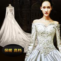 Handmade vintage royal slit neckline 2014 spring thermal long-sleeve big train wedding dress formal dress