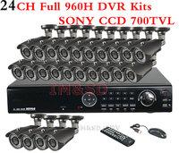 Surveillance CCTV 24CH Full 960H H.264 HDMI 1080P 2.8-12mm Lens Outdoor IR Camera SONY CCTV 700TVL FUll 960H Standalone DVR KITS