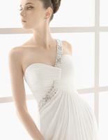 White chiffon one-piece dress one shoulder diamond bride wedding formal dress