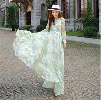 2014 spring and summer fashion print long silk dress ,long-sleeve cute chiffon dress,asymmetrical ruffles one-piece dress
