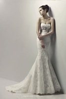 Fashion royal 2013 fashion wedding dress slim fish tail wedding dress train lace tube top wedding dress