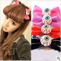 Newest 12pcs/lot DIY Bowknot Blood Streak Hairpin Coloreful Eyeball Hair Clips Hair Jewelry